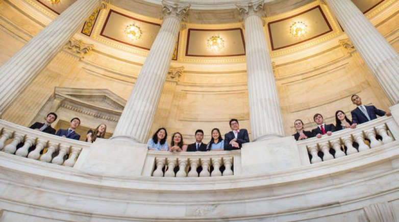 Exeter spring 2016 Washington interns in the rotunda of the senate office building