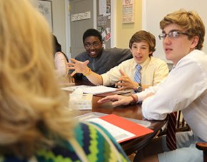 Exeter student Peter Chinburg in class.