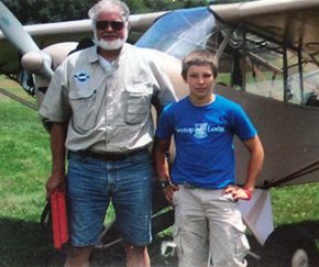 Exeter student Peter Chinburg with flying instructor.